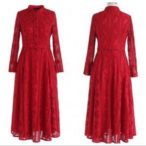 Chic wish Ravishing Red Lace Dress -Size Small $40